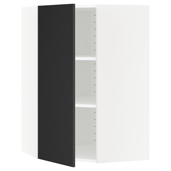 METOD خزانة حائط زاوية مع أرفف أبيض/Uddevalla فحمي 67.5 سم 68.2 سم 100.0 سم