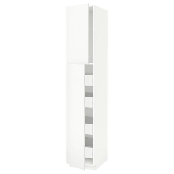 METOD / FÖRVARA خزانة عالية مع بابين/4 أدراج أبيض/Häggeby أبيض 40.0 سم 61.6 سم 228.0 سم 60.0 سم 220.0 سم