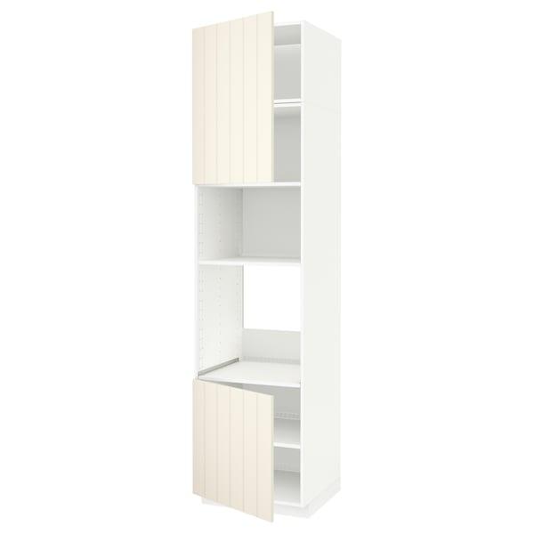 METOD خزانة عالية لفرن/ميكرويف بابين/أرفف أبيض/Hittarp أبيض-عاجي 60.0 سم 61.8 سم 248.0 سم 60.0 سم 240.0 سم