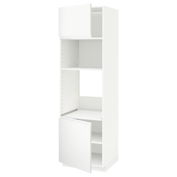METOD خزانة عالية لفرن/ميكرويف بابين/أرفف أبيض/Voxtorp أبيض مطفي 60.0 سم 62.1 سم 208.0 سم 60.0 سم 200.0 سم