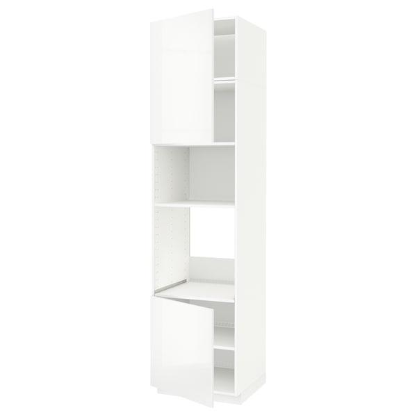 METOD خزانة عالية لفرن/ميكرويف بابين/أرفف أبيض/Ringhult أبيض 60.0 سم 61.8 سم 248.0 سم 60.0 سم 240.0 سم