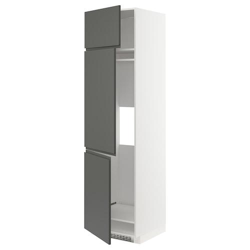 METOD خزانة مرتفعة ثلاجة/فريزر مع 3 أبواب أبيض/Voxtorp رمادي غامق 60.0 سم 62.1 سم 228.0 سم 60.0 سم 220.0 سم