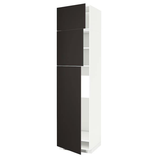 METOD خزانة عالية لثلاجة مع 3 أبواب أبيض/Kungsbacka فحمي 60.0 سم 61.6 سم 248.0 سم 60.0 سم 240.0 سم