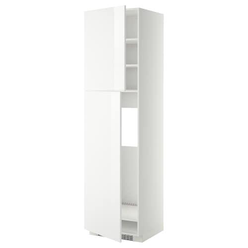 METOD خزانة عالية لثلاجة مع بابين أبيض/Ringhult أبيض 60.0 سم 61.8 سم 228.0 سم 60.0 سم 220.0 سم