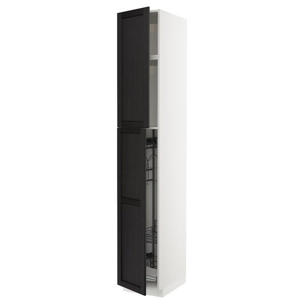 METOD خزانة مرتفعة مع أرفف مواد نظافة أبيض/Lerhyttan صباغ أسود 40.0 سم 61.9 سم 248.0 سم 60.0 سم 240.0 سم