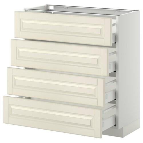 METOD / MAXIMERA خ. قاعدة 4 واجهات/4 أدراج أبيض/Bodbyn أبيض-عاجي 80.0 سم 39.5 سم 88.0 سم 37.0 سم 80.0 سم
