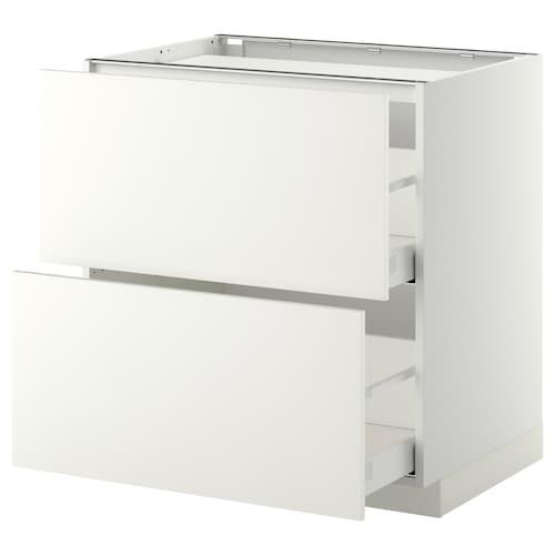METOD / MAXIMERA خ. قاعدة لموقد/2 واجهات/2 أدراج أبيض/Haggeby أبيض 80.0 سم 61.6 سم 88.0 سم 60.0 سم 80.0 سم