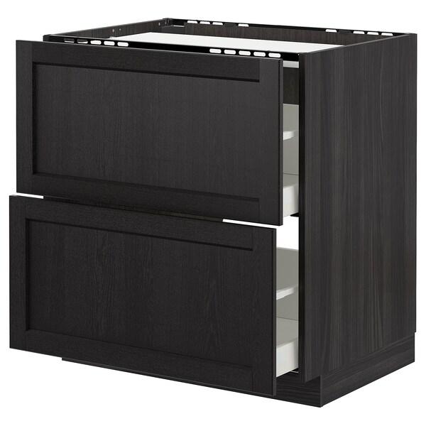 METOD / MAXIMERA خزانة قاعدة لموقد/2 واجهات/2 أدراج أسود/Lerhyttan صباغ أسود 80.0 سم 61.8 سم 88.0 سم 60.0 سم 80.0 سم