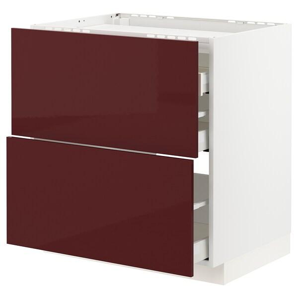 METOD / MAXIMERA خ. قاعدة لموقد/2 واجهات/3 أدراج أبيض Kallarp/لامع أحمر-بني غامق 80.0 سم 61.6 سم 88.0 سم 60.0 سم 80.0 سم