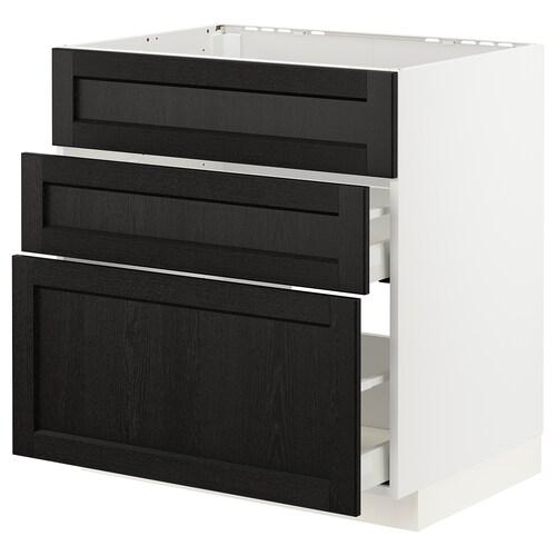 METOD / MAXIMERA خزانة قاعدة لموقد/شفاط مدمج مع درج أبيض/Lerhyttan صباغ أسود 80 سم 60 سم 61.6 سم 80 سم