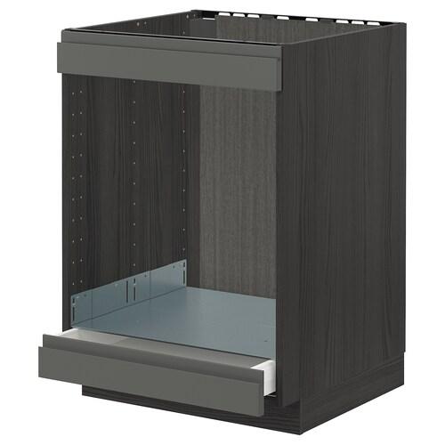 METOD / MAXIMERA خزانة قاعدة لموقد+فرن مع درج أسود/Voxtorp رمادي غامق 60.0 سم 61.6 سم 88.0 سم 60.0 سم 80.0 سم