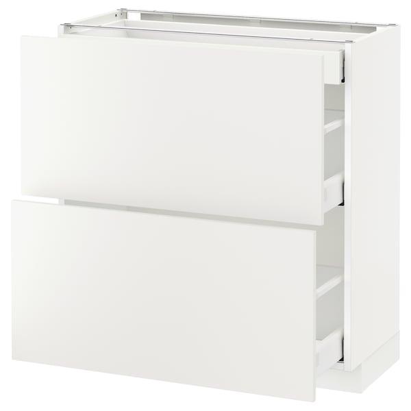 METOD / MAXIMERA خ. قاعدة مع 2واجهات/3أدراج أبيض/Haggeby أبيض 80.0 سم 39.2 سم 88.0 سم 37.0 سم 80.0 سم
