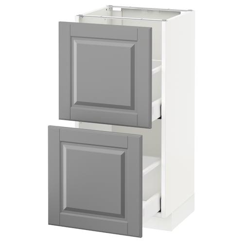 METOD / MAXIMERA خزانة أساسية مع درجين أبيض/Bodbyn رمادي 40.0 سم 39.5 سم 88.0 سم 37.0 سم 80.0 سم