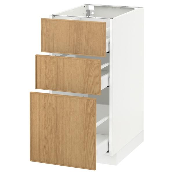 METOD / MAXIMERA خزانة أساسية مع 3 أدراج أبيض/Ekestad سنديان 40.0 سم 61.9 سم 88.0 سم 60.0 سم 80.0 سم