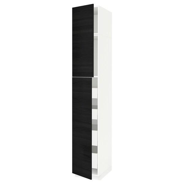 METOD / MAXIMERA خزانة عالية مع بابين/4 أدراج أبيض/Tingsryd أسود 40.0 سم 61.6 سم 248.0 سم 60.0 سم 240.0 سم