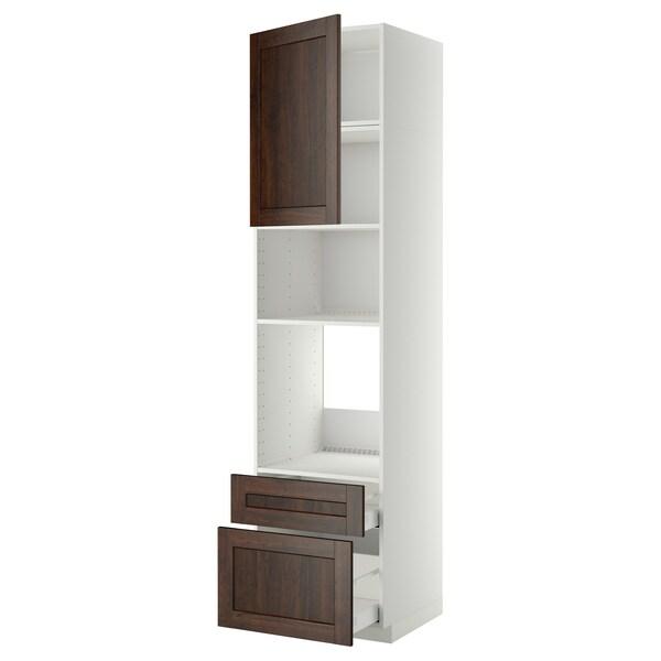 METOD / MAXIMERA خزانة عالية لفرن/م. مع باب/2 أدراج أبيض/Edserum بني 60 سم 61.8 سم 248 سم 60 سم 240 سم