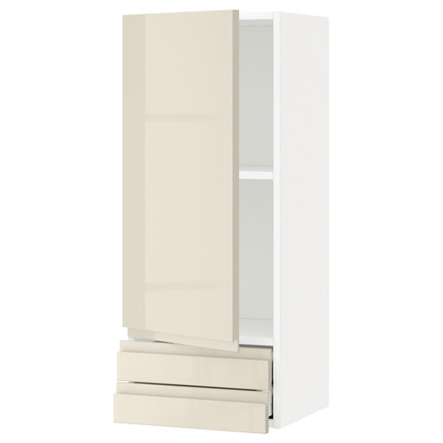 METOD / MAXIMERA خزانة قاعدة مع باب/2 أدراج أبيض/Voxtorp بيج فاتح لامع 40.0 سم 39.1 سم 100.0 سم