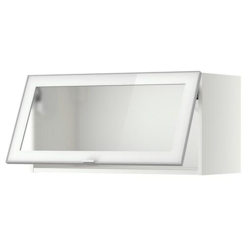 METOD خزانة حائط أفقية مع باب زجاجي أبيض/Jutis زجاج محبب 80.0 سم 38.8 سم 40.0 سم