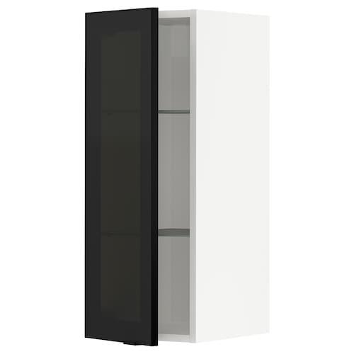 METOD خزانة حائط مع أرفف/باب زجاجي أبيض/Jutis زجاج مدخّن 30.0 سم 38.6 سم 37.0 سم 80.0 سم