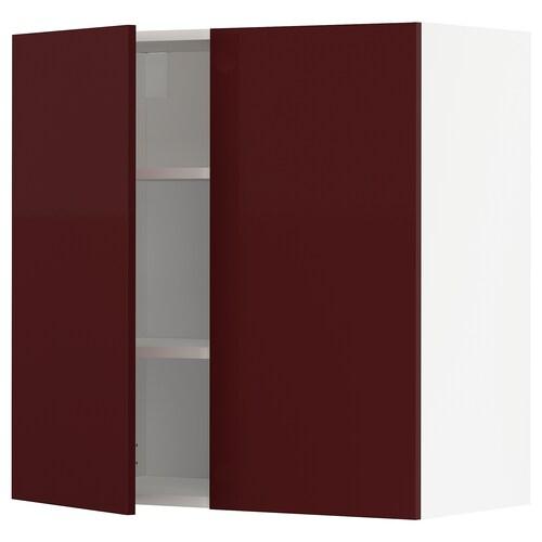 METOD خزانة حائط مع أرفف/بابين أبيض Kallarp/لامع أحمر-بني غامق 80.0 سم 38.6 سم 80.0 سم