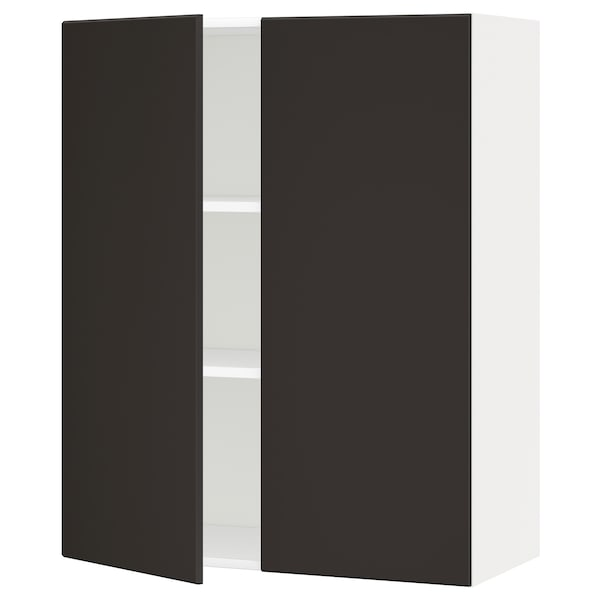 METOD خزانة حائط مع أرفف/بابين أبيض/Kungsbacka فحمي 80.0 سم 38.6 سم 100.0 سم
