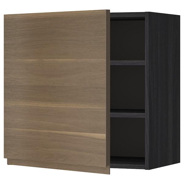 METOD خزانة حائط مع أرفف أسود/Voxtorp شكل خشب الجوز 60.0 سم 39.1 سم 60.0 سم