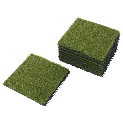 RUNNEN بلاط أرضية، خارجي عشب صناعي 0.81 م² 30 سم 30 سم 2 سم 0.09 م² 9 قطعة