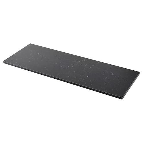 SÄLJAN سطح عمل أسود شكل المرمر/صفائح رقيقة 246 سم 63.5 سم 3.8 سم