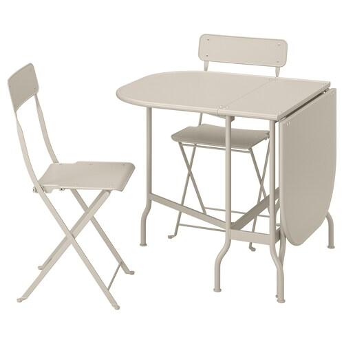 SALTHOLMEN طاولة+2كراسي قابلة للطي،خارجية بيج