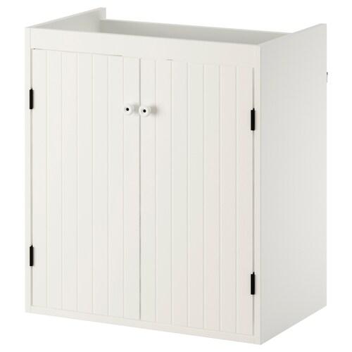 SILVERÅN خزانة الحوض مع بابين أبيض 60 سم 38 سم 67.6 سم