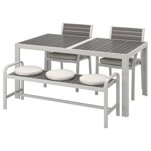 SJÄLLAND طاولة+2كراسي+مصطبة، خارجية رمادي غامق/Frösön/Duvholmen بيج 156 سم 90 سم 73 سم