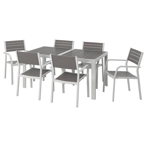 SJÄLLAND طاولة+6كراسي بمساند ذراعين،خارجية رمادي غامق/رمادي فاتح 156 سم 90 سم 73 سم