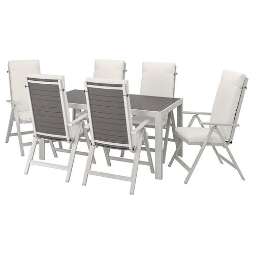 SJÄLLAND طاولة+6 كراسي استلقاء، خارجية رمادي غامق/Frösön/Duvholmen بيج 156 سم 90 سم 73 سم