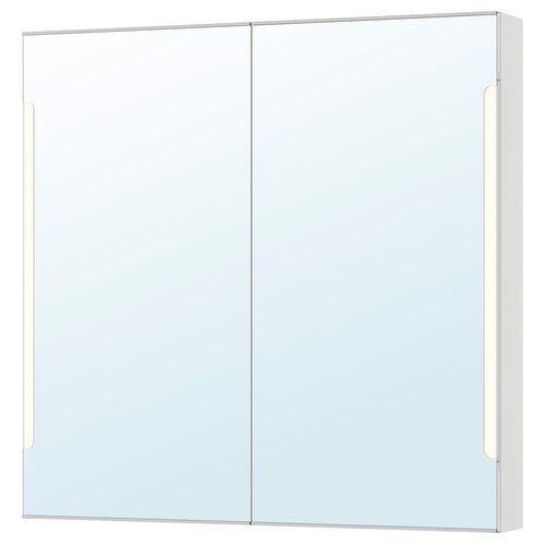 STORJORM خزانة بمرآة 2 باب/إضاءة مدمجة أبيض 100 سم 14 سم 96 سم