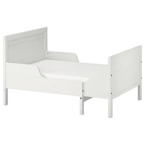 SUNDVIK سرير قابل للتمديد مع قاعدة شرائحية أبيض 137 سم 207 سم 80 سم 91 سم 100 كلغ 200 سم 80 سم