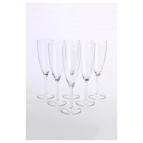 SVALKA كأس زجاج شفاف 22 سم 21 سل 6 قطعة