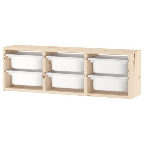 TROFAST تخزين حائطي صنوبر مصبوغ أبيض فاتح/أبيض 93 سم 21 سم 30 سم