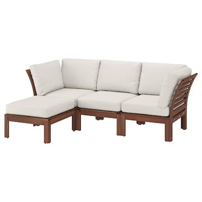 ÄPPLARÖ 3-seat modular sofa, outdoor, with footstool brown stained/Frösön/Duvholmen beige, 143/223x80x84 cm
