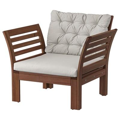ÄPPLARÖ Armchair, outdoor, brown stained/Kuddarna grey