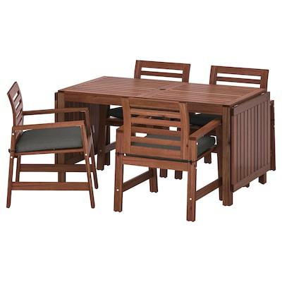 ÄPPLARÖ Table+4 chairs w armrests, outdoor, brown stained/Frösön/Duvholmen dark grey