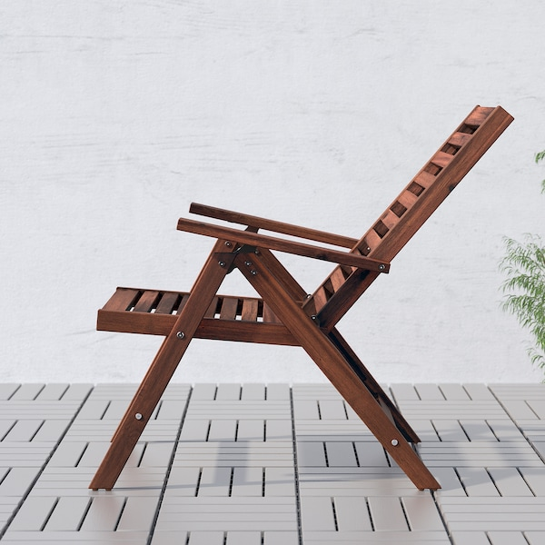 ÄPPLARÖ Table+8 reclining chairs, brown stained/Frösön/Duvholmen blue