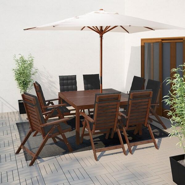 ÄPPLARÖ Table+8 reclining chairs, brown stained/Hållö black