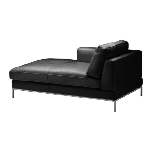 Arild left hand chaise longue karakt r black ikea for Black leather chaise longue
