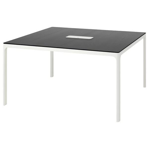 BEKANT conference table black stained ash veneer/white 140 cm 140 cm 73 cm 100 kg