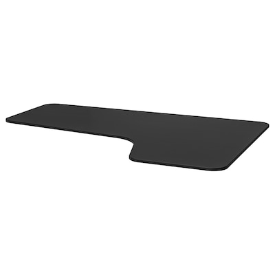 BEKANT سطح طاولة، زاوية يمين, قشرة الدردار لون الأسود, 160x110 سم