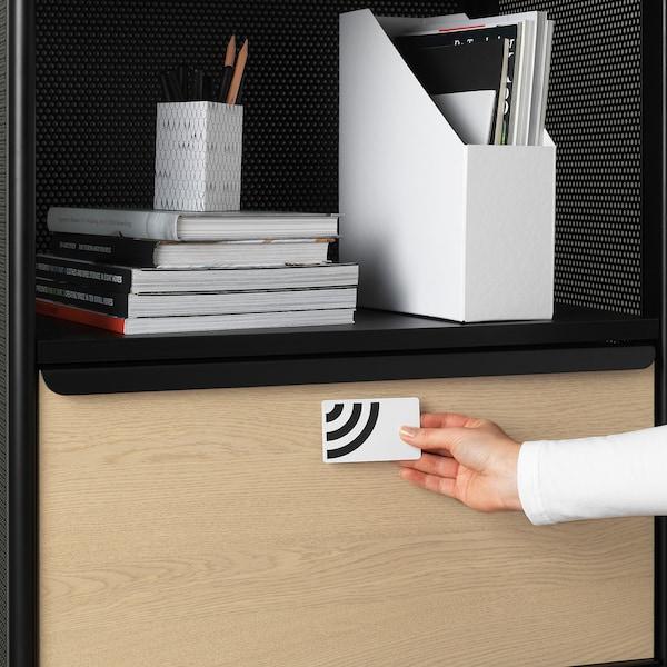 BEKANT Storage unit with smart lock, mesh black, 61x101 cm