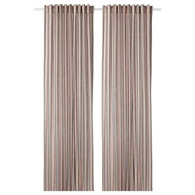 BERGSKRABBA Curtains, 1 pair, grey/red striped, 145x300 cm