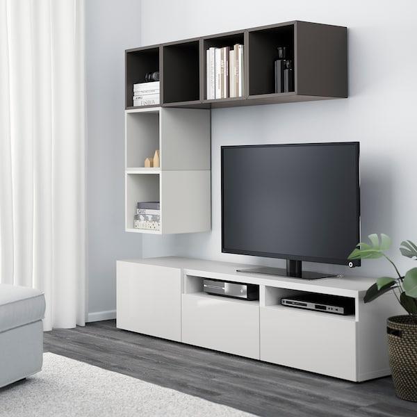 BESTÅ / EKET تشكيلة خزانات لتلفزيون, أبيض/أبيض/لامع, 180x40x170 سم
