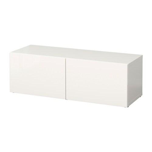 sale retailer 84f4b 5ddff BESTÅ Shelf unit with doors, white, Selsviken high-gloss/white