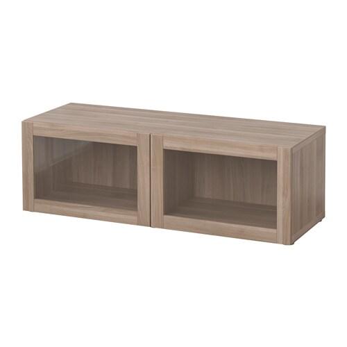 new style 2913b 399b9 BESTÅ Shelf unit with glass doors, Sindvik grey stained walnut effect